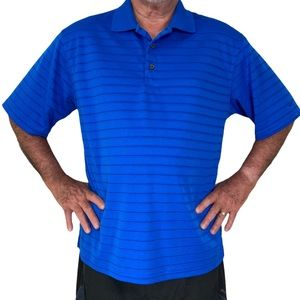 Men's blue stripe golf polo by Grand Slam